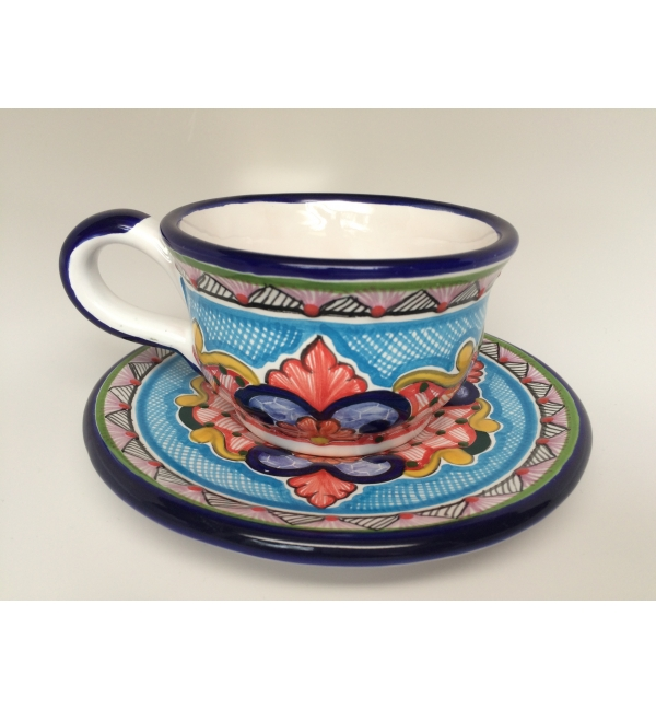coffee cup and plate made of talavera