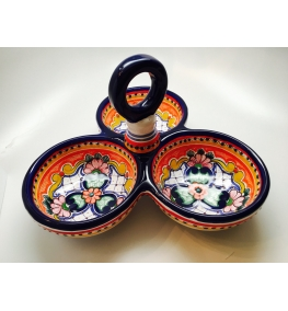 Talavera Snack Tray - Three Comparments